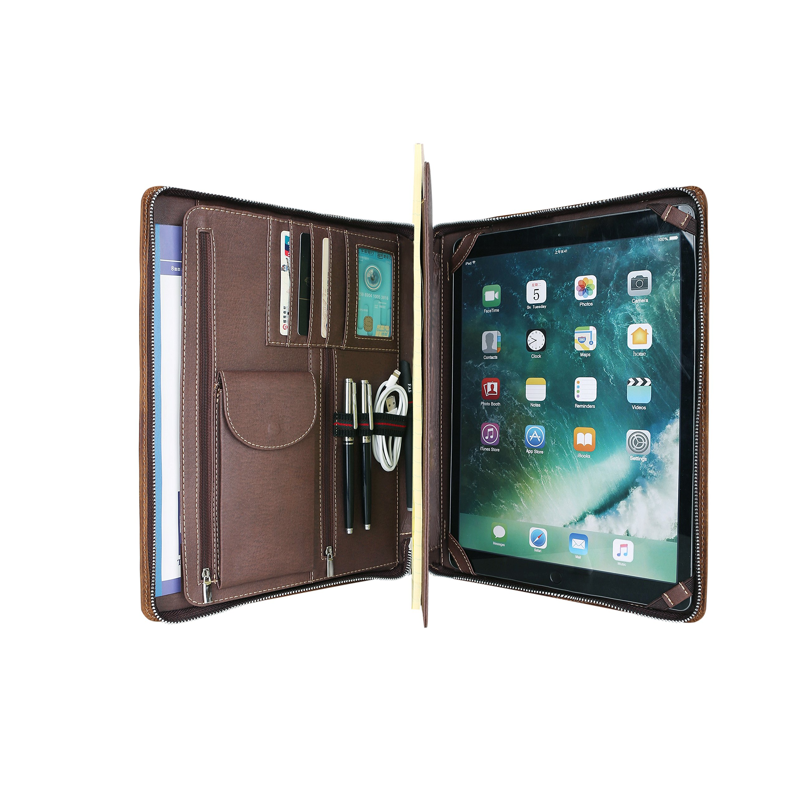 Premium Genuine Leather Business Portfolio/Padfolio with Zippered Closure and Interior iPad Pro 10.5 inch Tablet Sleeve