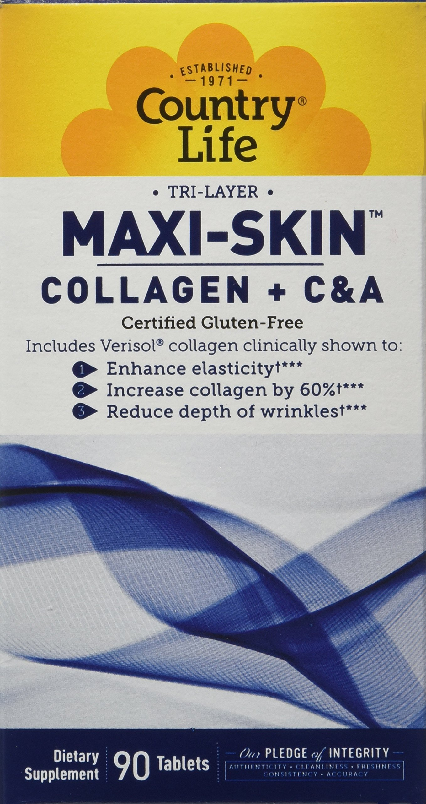 Country Life Collagen plus Vitamin C&A with Verisol - Tri-Layer Maxi-Skin - 90 Tablets