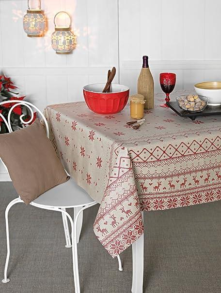 Mantel Antimanchas Navidad Dolomites 50%algodón 50%poliéster con protección de resina y Teflón de Dupont®: Amazon.es: Hogar