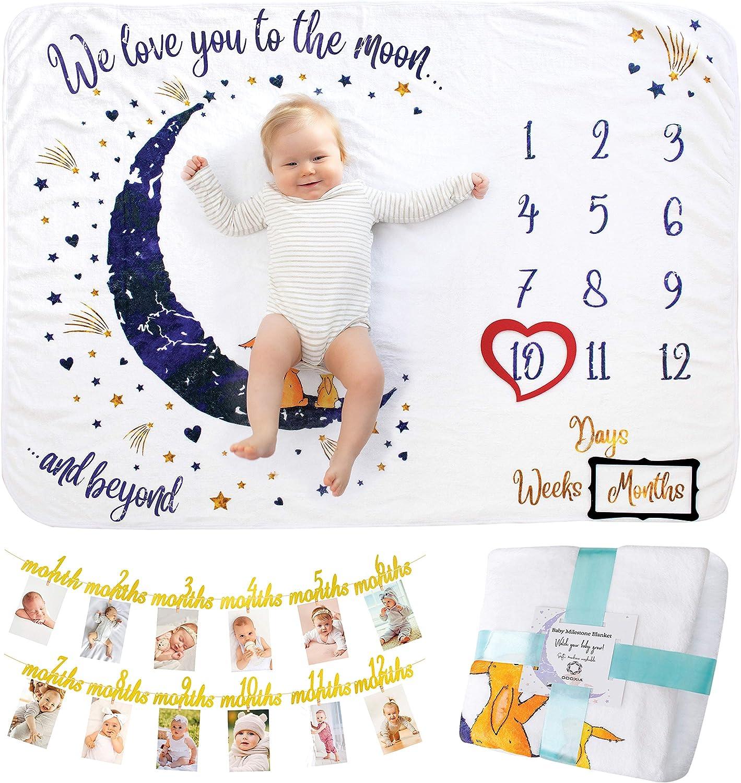 Manta Meses Bebé | con Banner del Primer Año | Modelo Unisex | Regalo De Fiesta De Nacimiento | Temática Luna y Estrellas | Suave y Gruesa | Manta para Fotos Mensuales | Manta Mensual De Hito