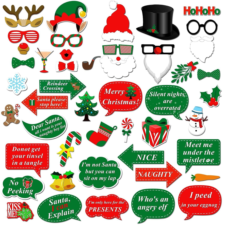 Howaf Weihnachten Photo Booth, 47 Pcs Weihnachtsmütze Brille ...