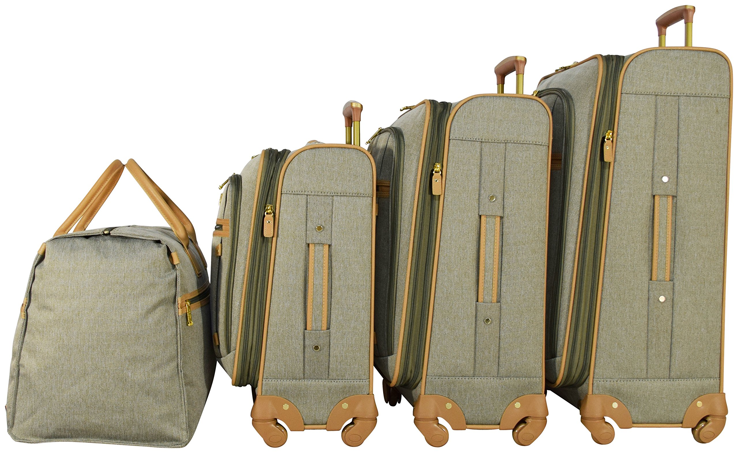 Nicole Miller New York Taylor Set of 4: Box Bag, 20'', 24'', 28'' Expandable Spinner Luggages (Green) by Nicole Miller (Image #3)