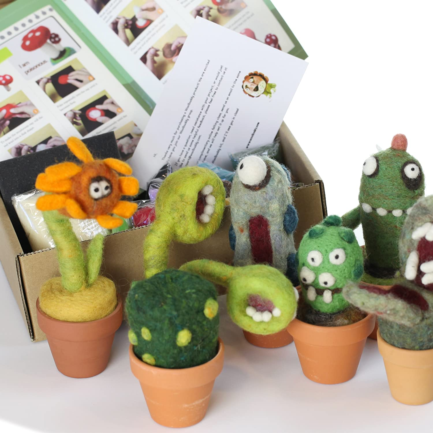 Instruction /& Videos- Great for Arts /& Crafts /& Easy for Beginners Make 4+ Cactus Felting Foam Mat Woolbuddy Needle Felting Cactus Kit 4 Needles Clay pots Included