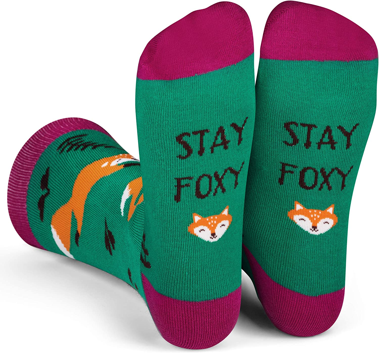 Lavley Women's Novelty Socks, Crew Length, Cute Animal Socks With Fun Sayings (Otter, Hedgehog, Fox, Sloth, Dog, Penguin)