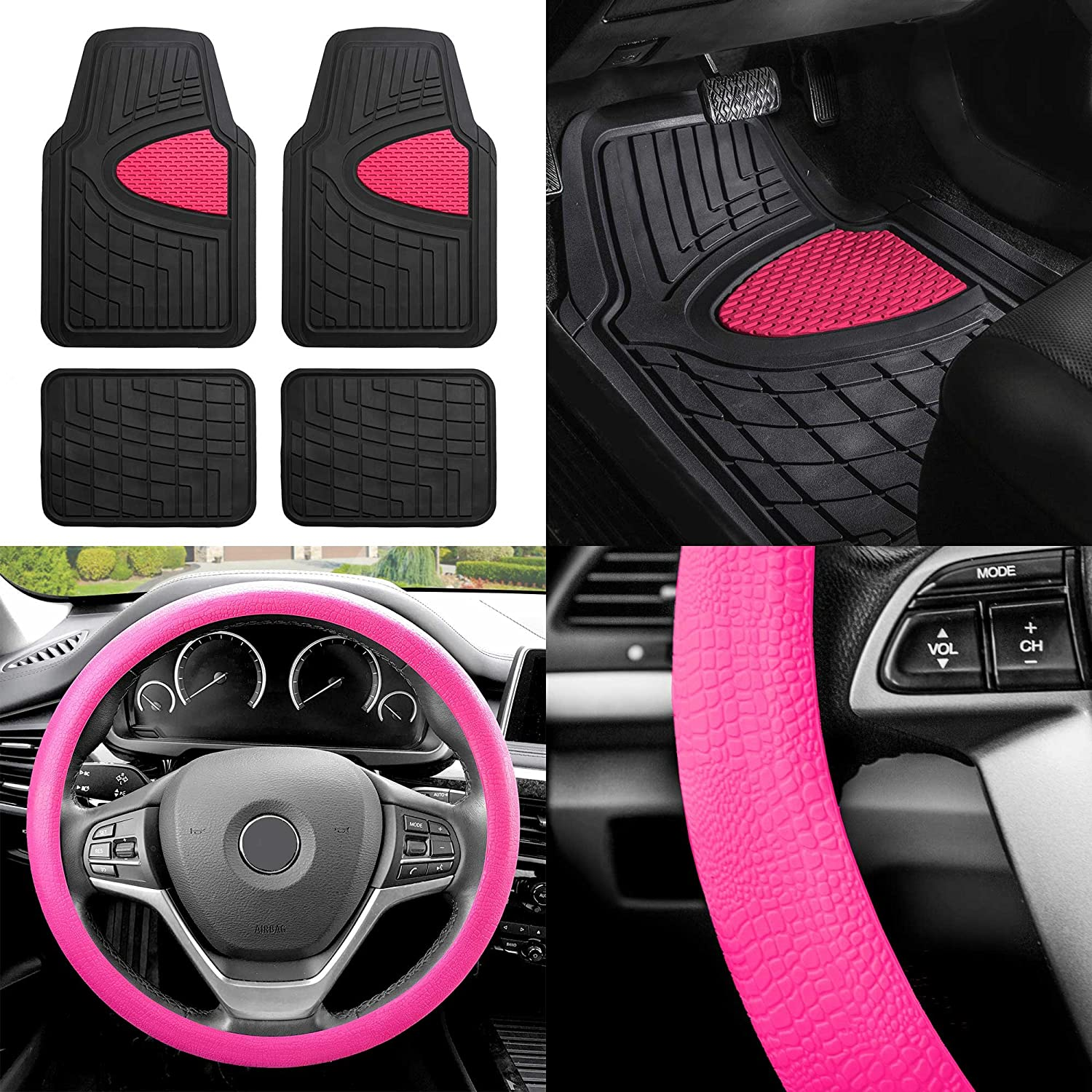 Fh Group F11311 Premium Tall Channel Rubber Trimmable Floor Mats W Fh3001 Snake Pattern Silicone Steering Wheel Cover Pink Black Universal Fit For Trucks Suvs And Vans Automotive Amazon Com