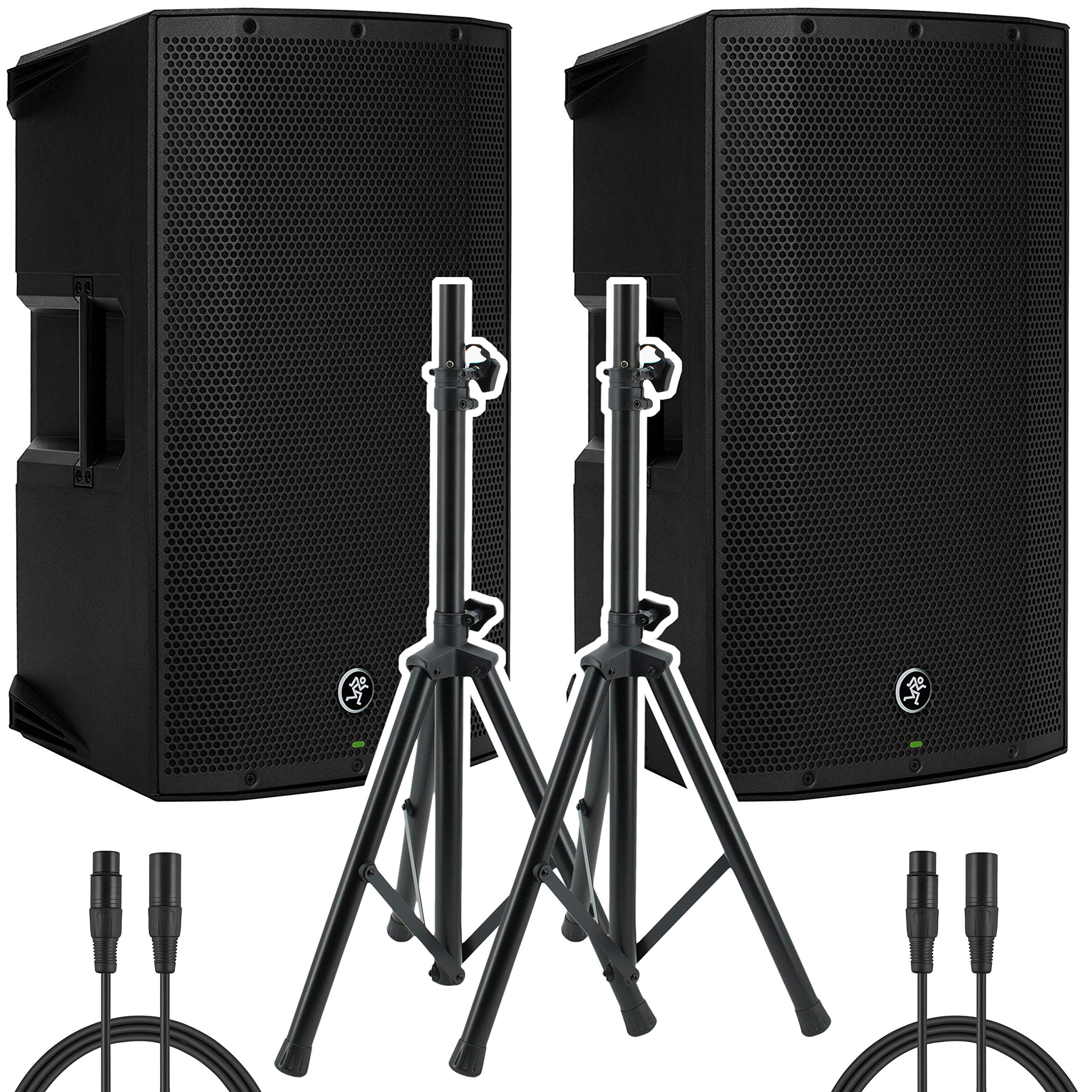 Mackie Thump15A - 1300W 15'' Powered Loudspeaker (Pair) with (2) Steel Speaker Stand and (2) XLR-XLR Cable by Mackie