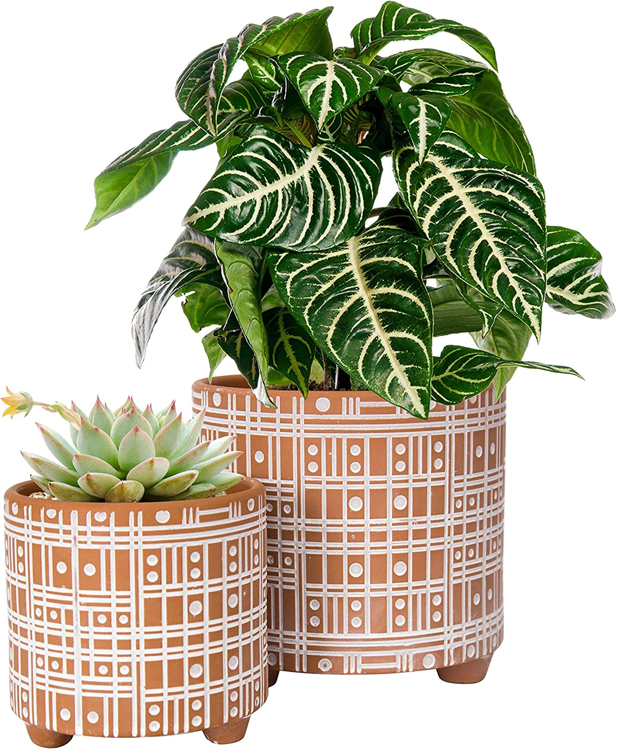 Set of 2 Planter Pots, 4 Inch & 6 Inch, Line Pattern Design Ceramic Plants Pot with Drainage Hole, Terracotta/White