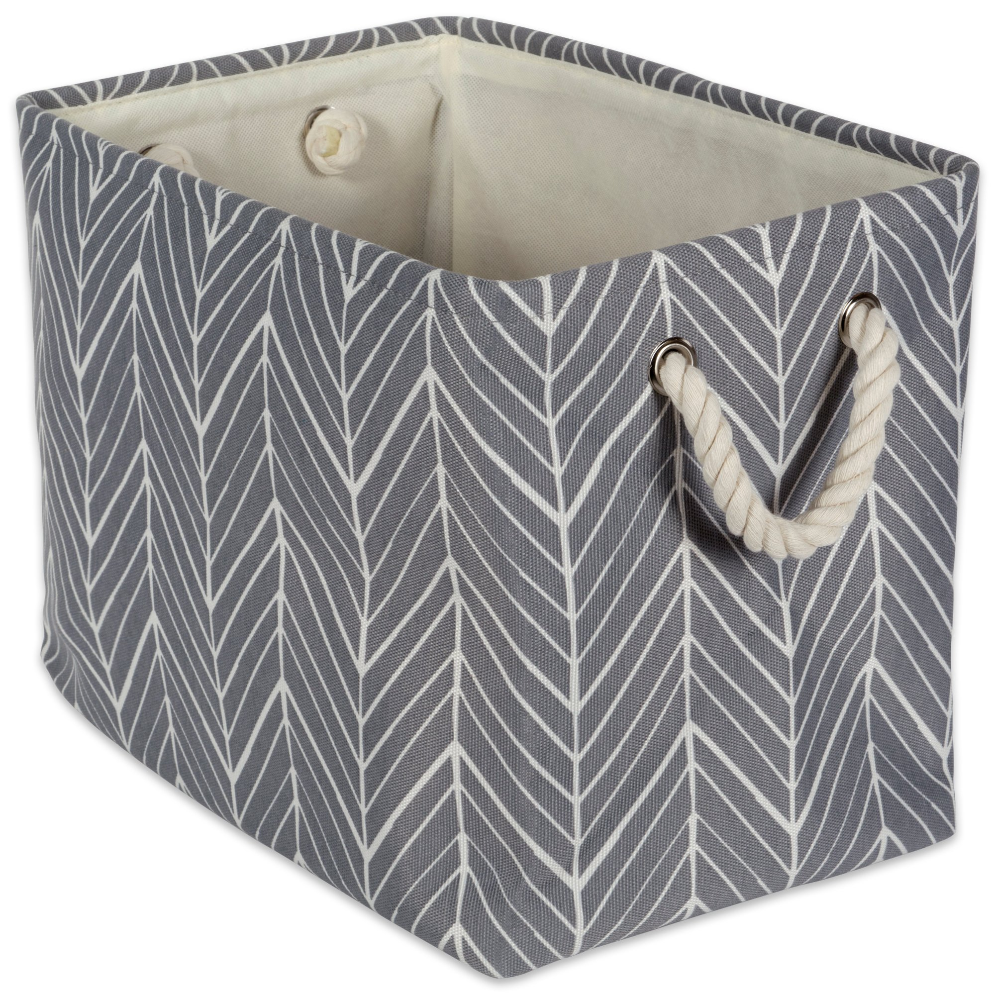 """DII Collapsible Polyester Storage Basket or Bin with Durable Cotton Handles, Home Organizer Solution for Office, Bedroom, Closet, Toys, Laundry(Medium - 16x10x12""""), Gray Herringbone"""
