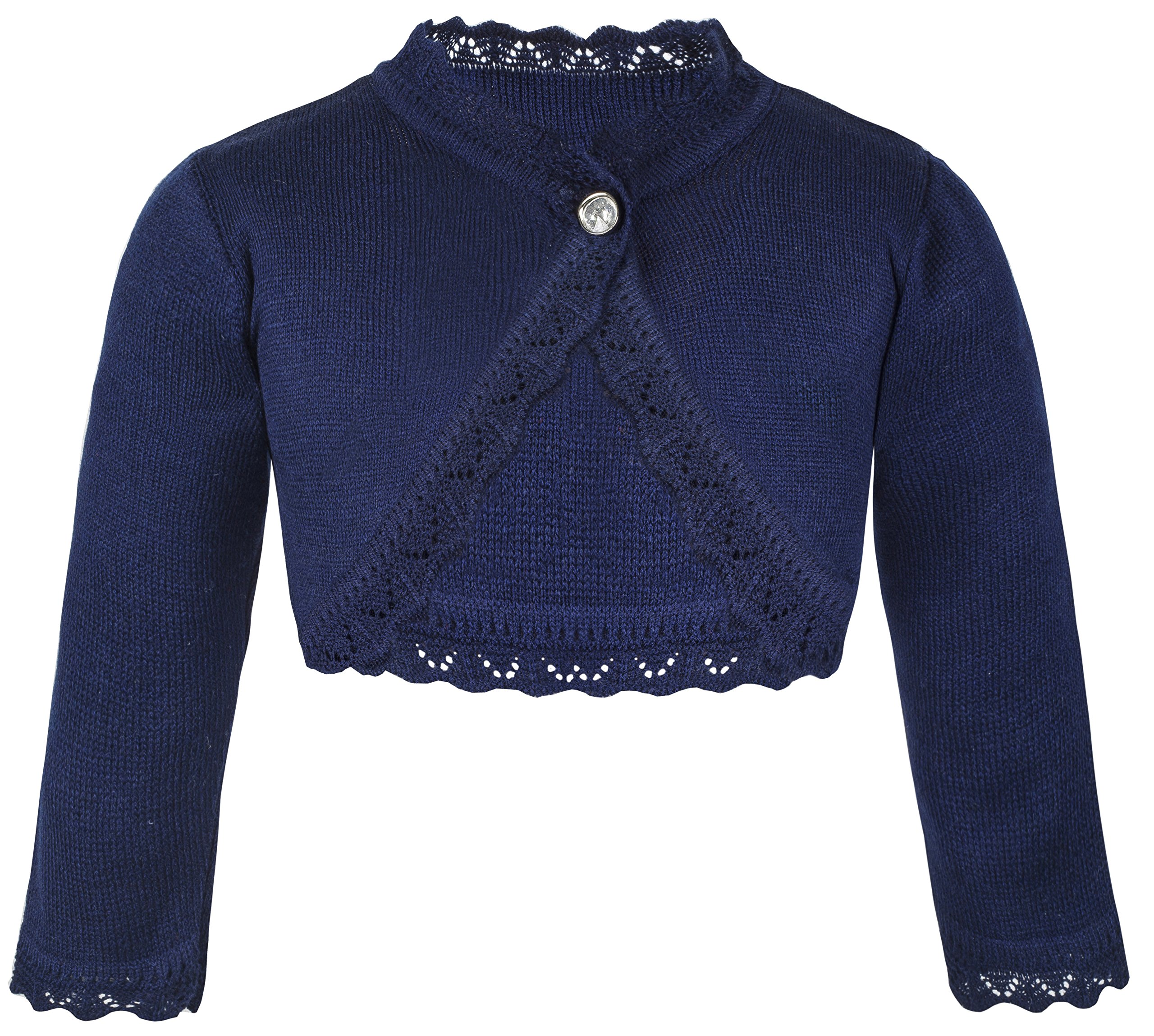 Lilax Little Girls' Knit Long Sleeve Button Closure Bolero Cardigan Shrug 4T Navy