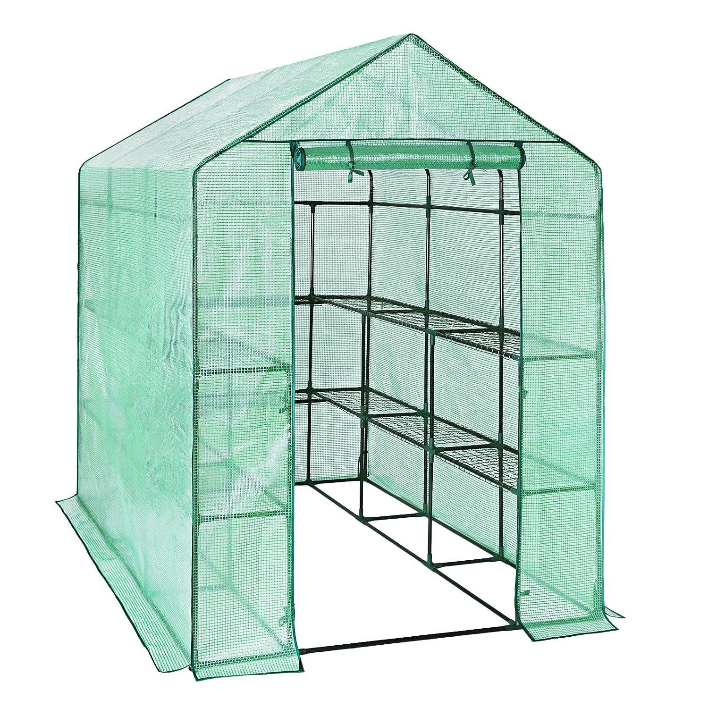 SONGMICS Serre de Jardin Tente Cadre Métal avec Housse PE Plastique 215 x 143 x 195 cm GWP13L