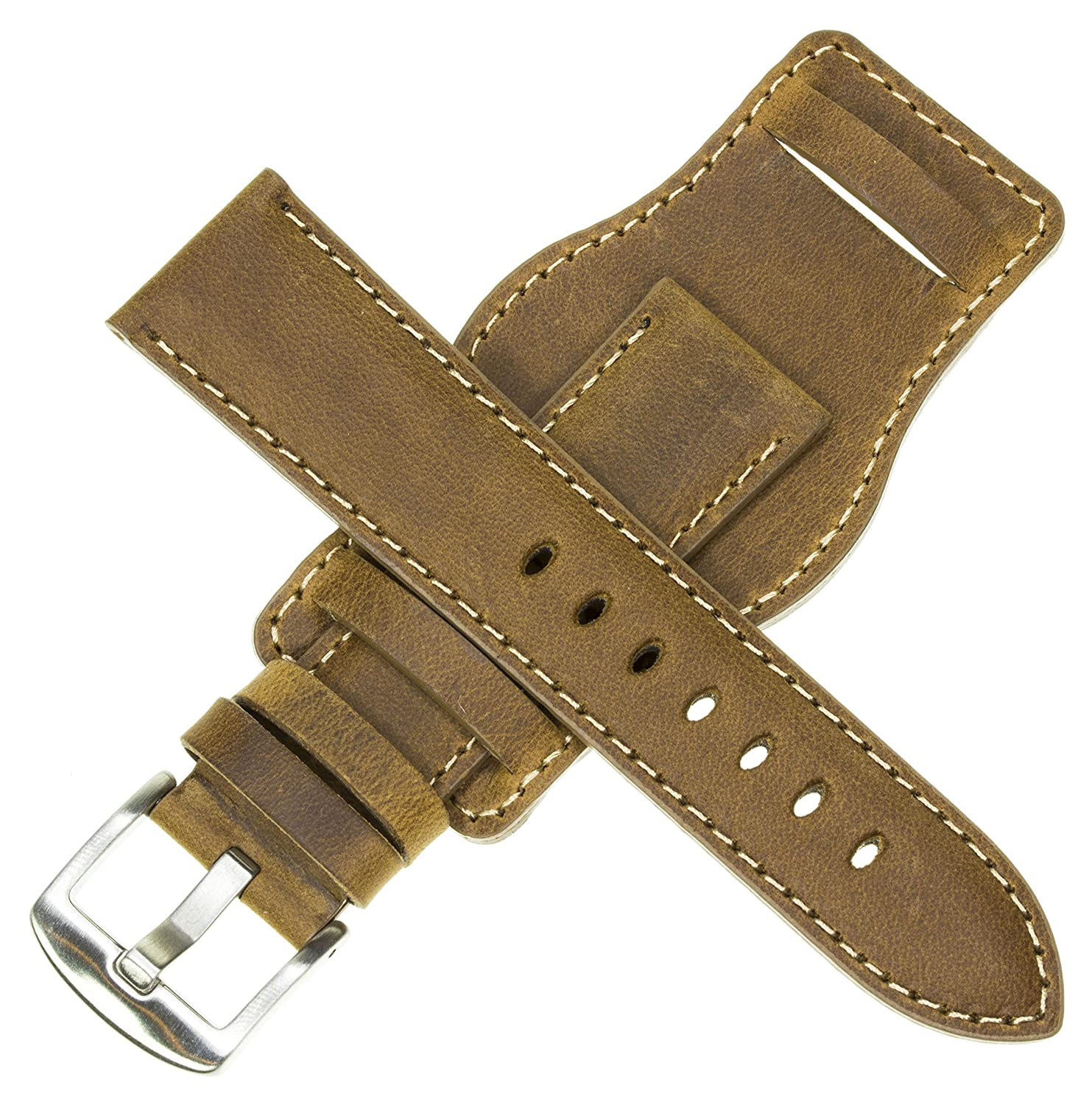 22mm German Military Aviator Watch Strap Swiss Army Brown Leather Cuff Watch Band Brown 22 mm Bund X1