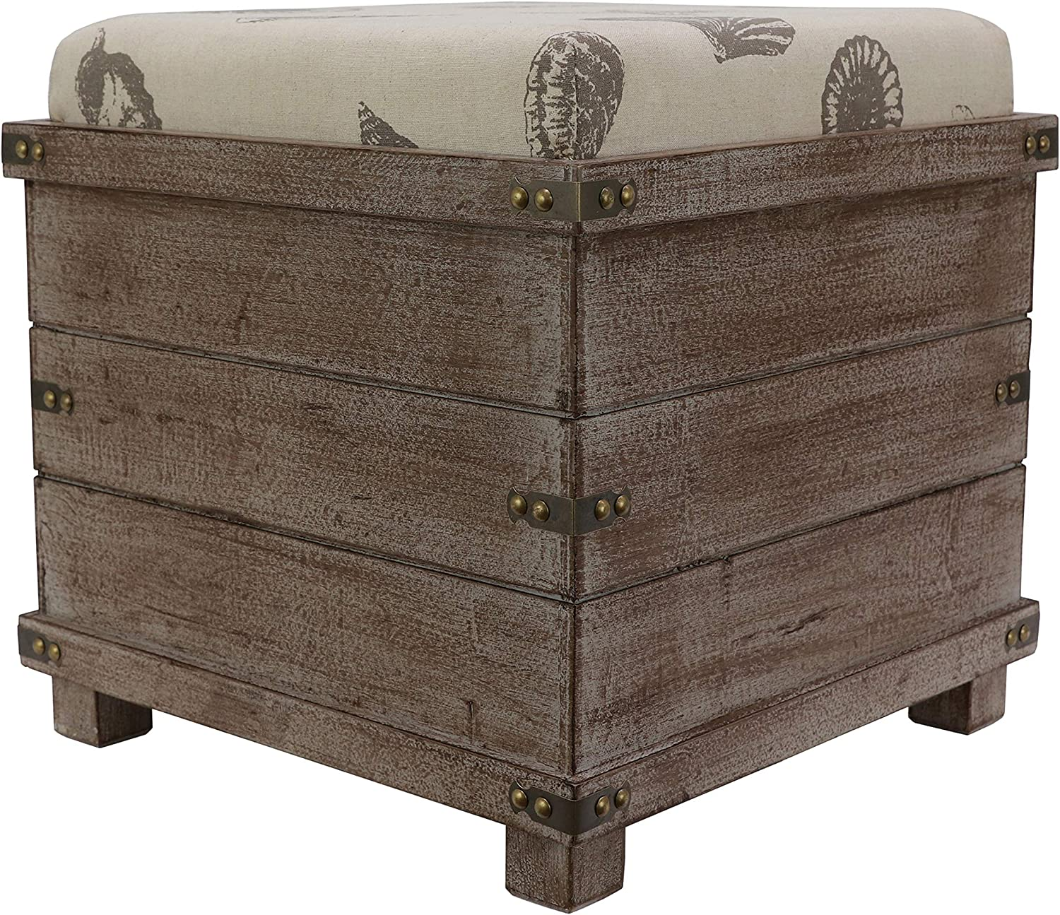 Decor Therapy Hadley Weathered Storage Ottoman, 15.75w 15.75d 26.41h, Barnwood