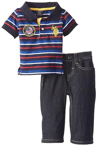 3a908d3d4 Amazon.com  U.S. Polo Assn. Baby Boys  Striped Polo and Denim Jean ...