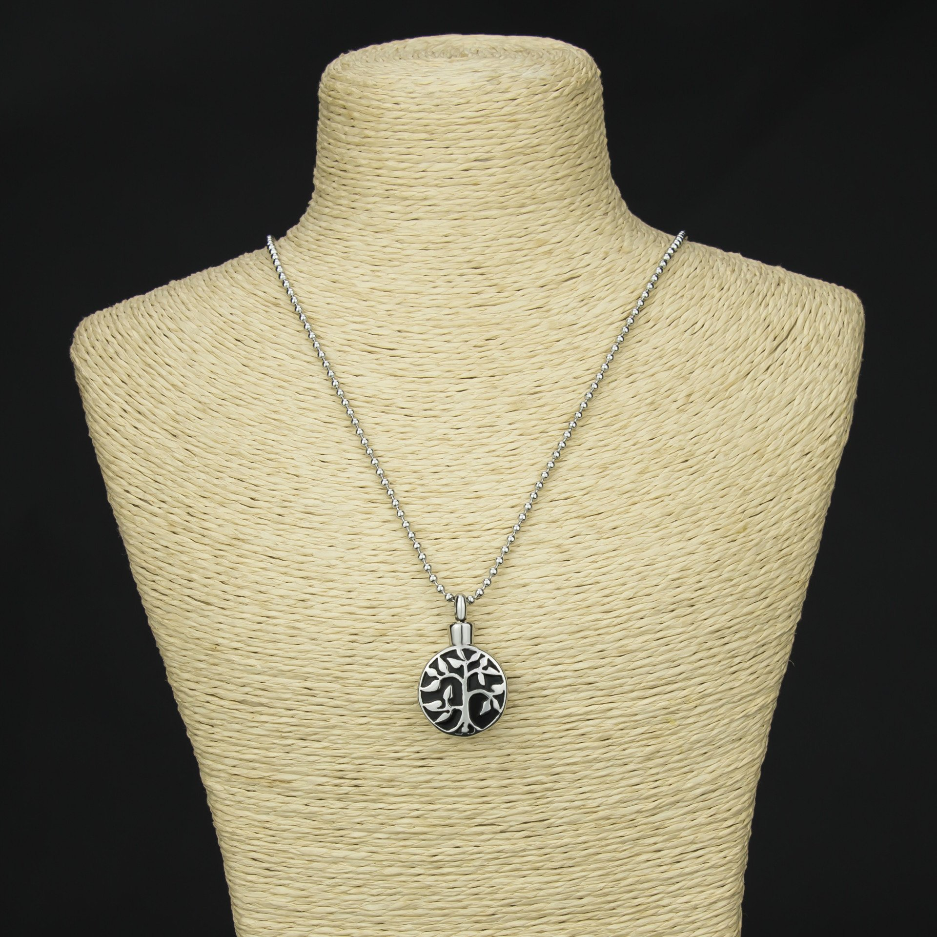Dreanming Tree of Life Cremation Urn Jewelry Necklace & Pendant for Ashes w/ Funnel Filler Kit Black