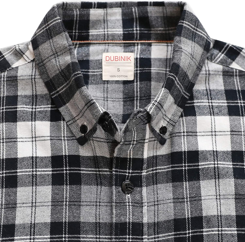 Dubinik Mens Plaid Flannel Long Sleeve Shirts Cotton Casual Shirt Regular Fit