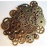 Lot de 50charms Style gothique Motif engrenages Steampunk En couleur bronze
