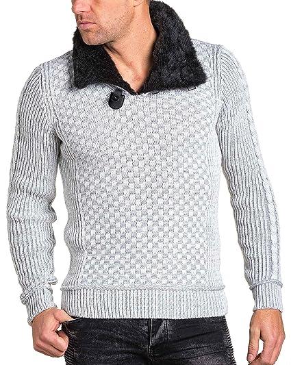 cdb0df279ee9a BLZ Jeans - Pull Blanc et Gris Maille épaisse col Montant fourré - Couleur   Blanc