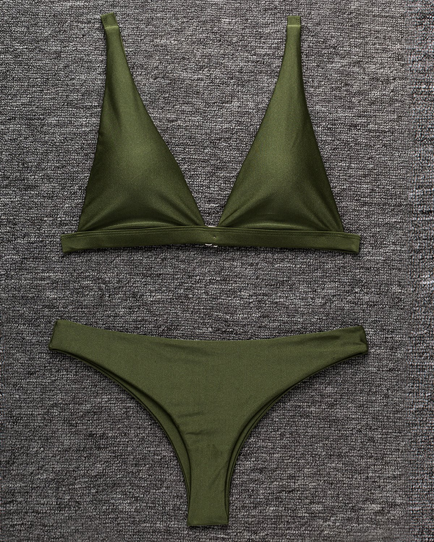 X-HERR Women Sexy Halter Top Padded Pushup Bikini Set Solid Brazilian Thong Low Rise Bottoms Swimsuit (Green,Small)