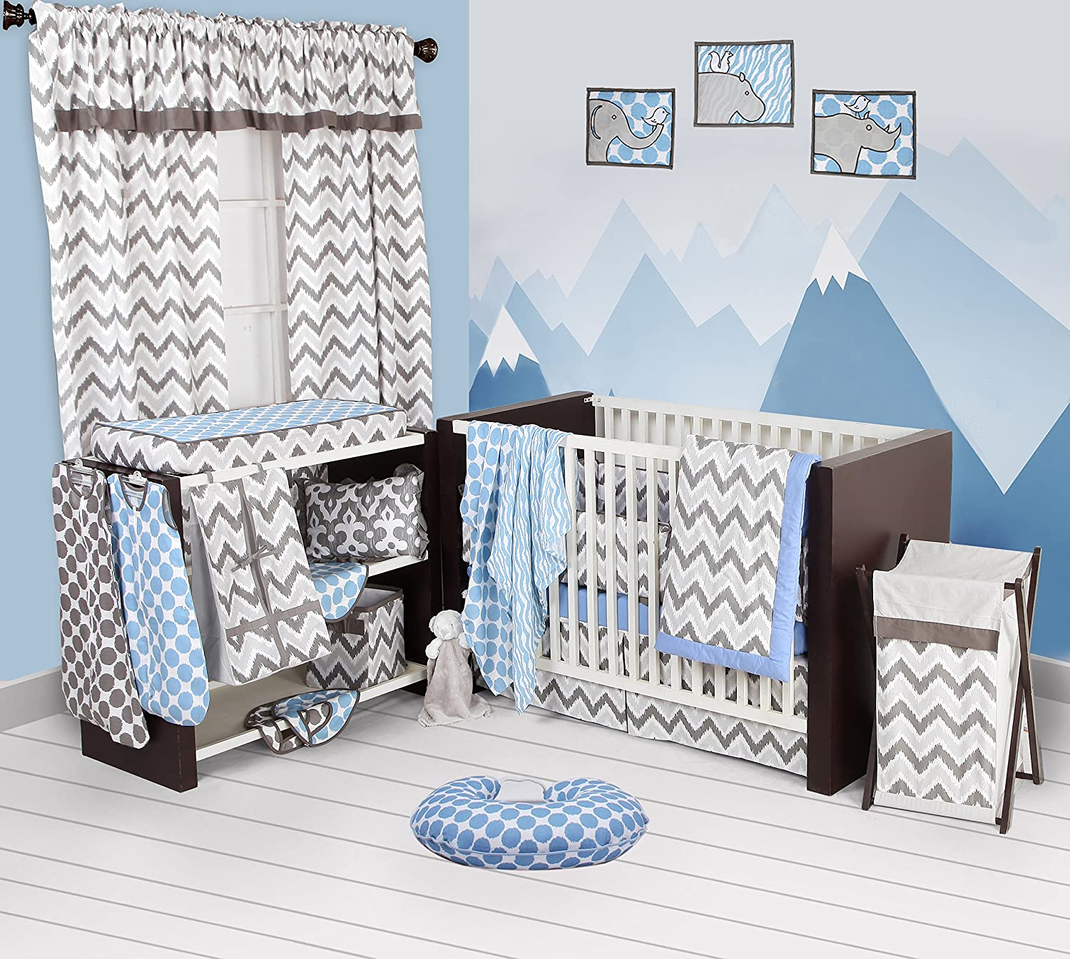 Bacati - Blue/grey Ikat Chevron Muslin 10 Pc Crib Set with Bumper Pad by Bacati   B01BGF881U