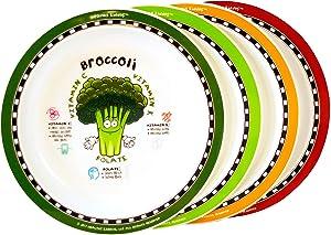 Healthy Kiddos Fruits & Vegetables Fun Plates For Kids 12 Pack | Educational, Non-Slip, Melamine & BPA Free, Eat Healthy Kids Nutrition Plate