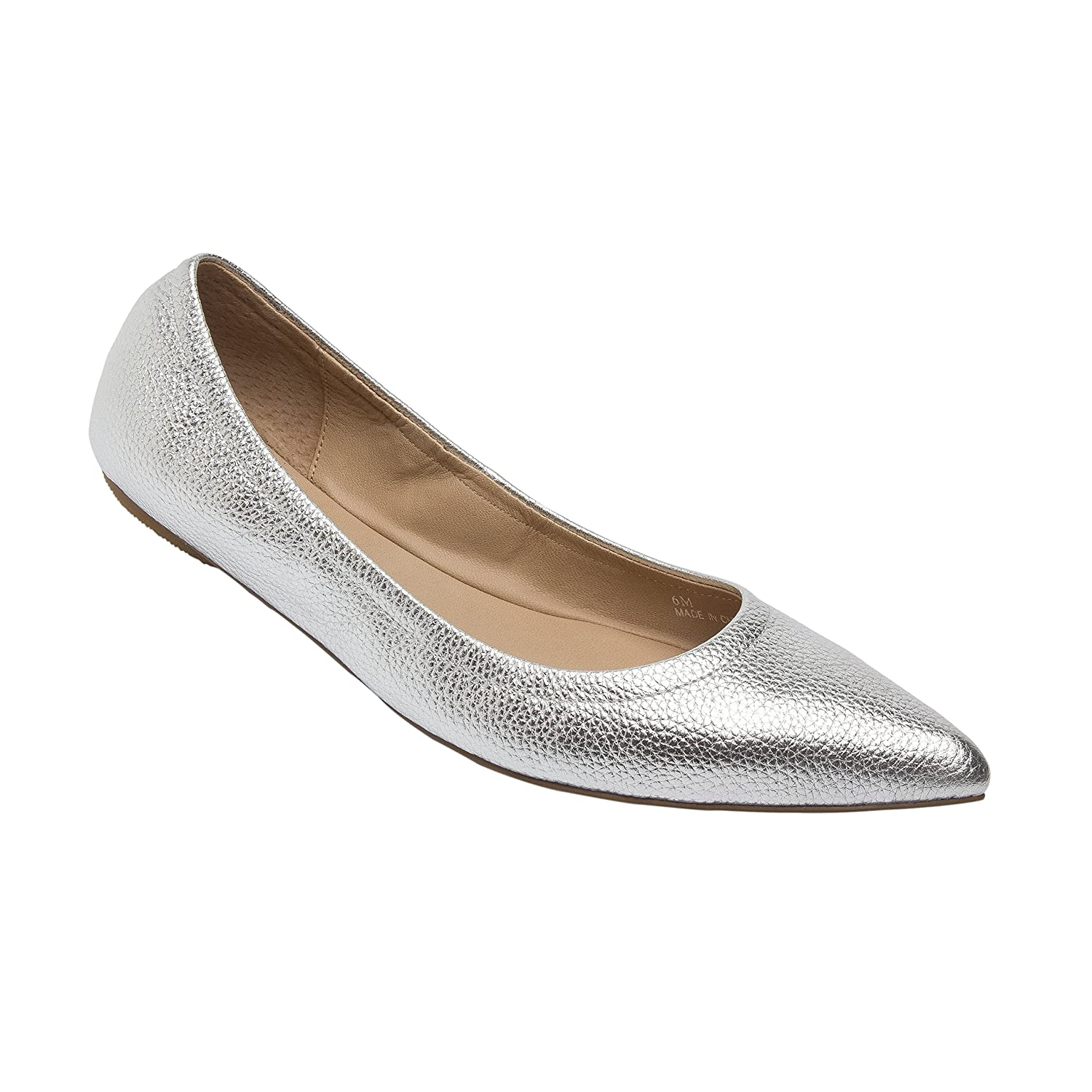 NICO | Women's Pointy Toe Elasticized Leather or Suede Ballet Flat (New Spring) B0778X8YJR 6 M US|Silver Pebbled Leather