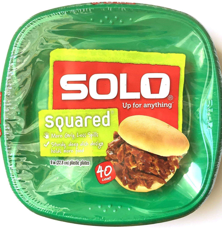 Amazon.com Solo Squared 9\  Plastic Plates 40 CT - Green Kitchen \u0026 Dining  sc 1 st  Amazon.com & Amazon.com: Solo Squared 9\