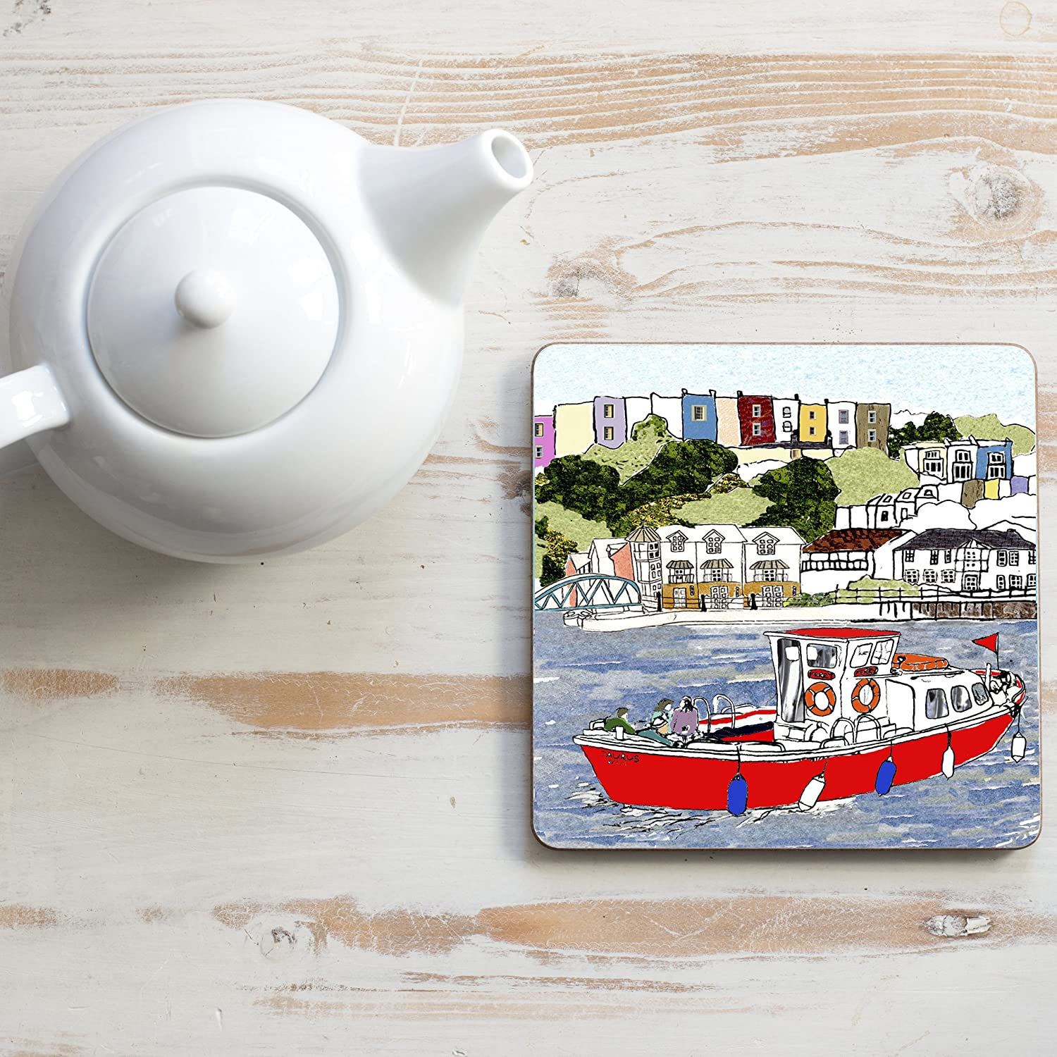 Bristol Red Ferry Square Teapot Stand Emmeline Simpson