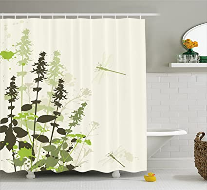 Ambesonne Dragonfly Shower Curtain Nature Plants Grass With Wildflowers Paintbrush Effects Print Fabric