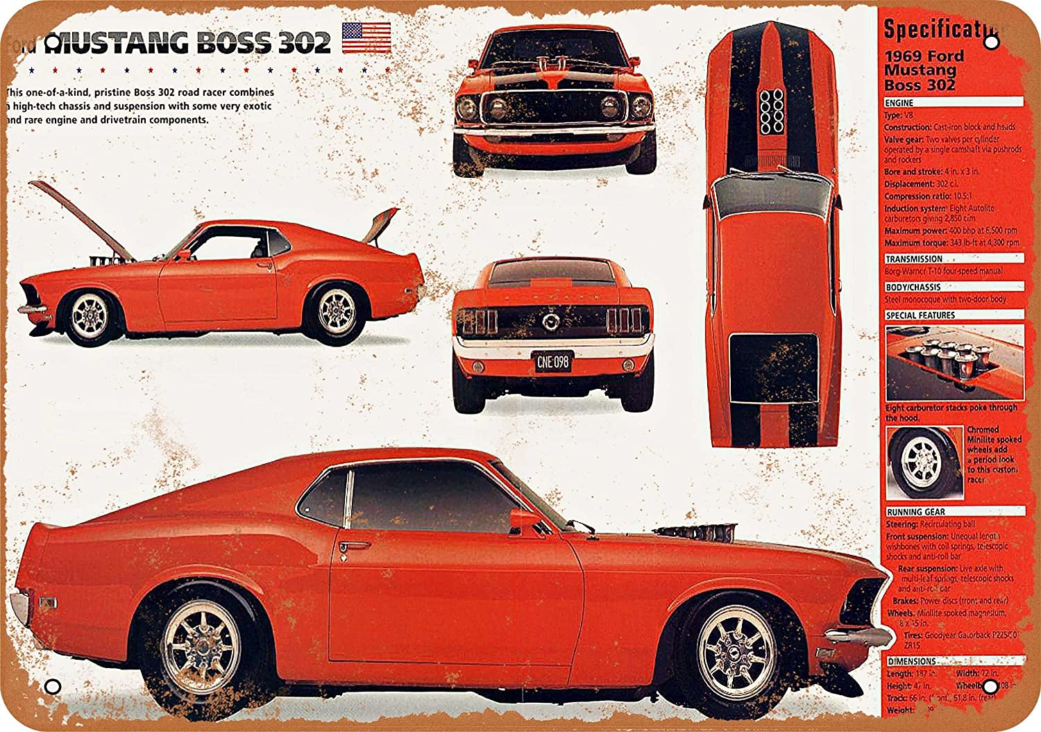 Wall Color 7 X 10 Metal Sign 1969 Ford Mustang Boss 302 Vintage Look Reproduction Home Kitchen
