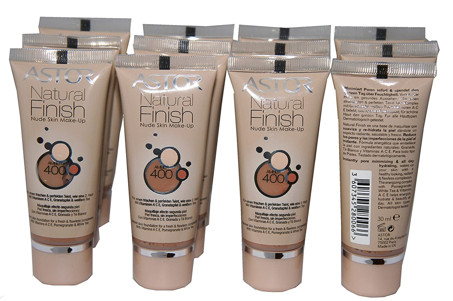 Amazon.com: 12 x Astor Natural Finish Nude Skin Makeup Foundation | Amber | RRP £60 by ASTOR: Beauty