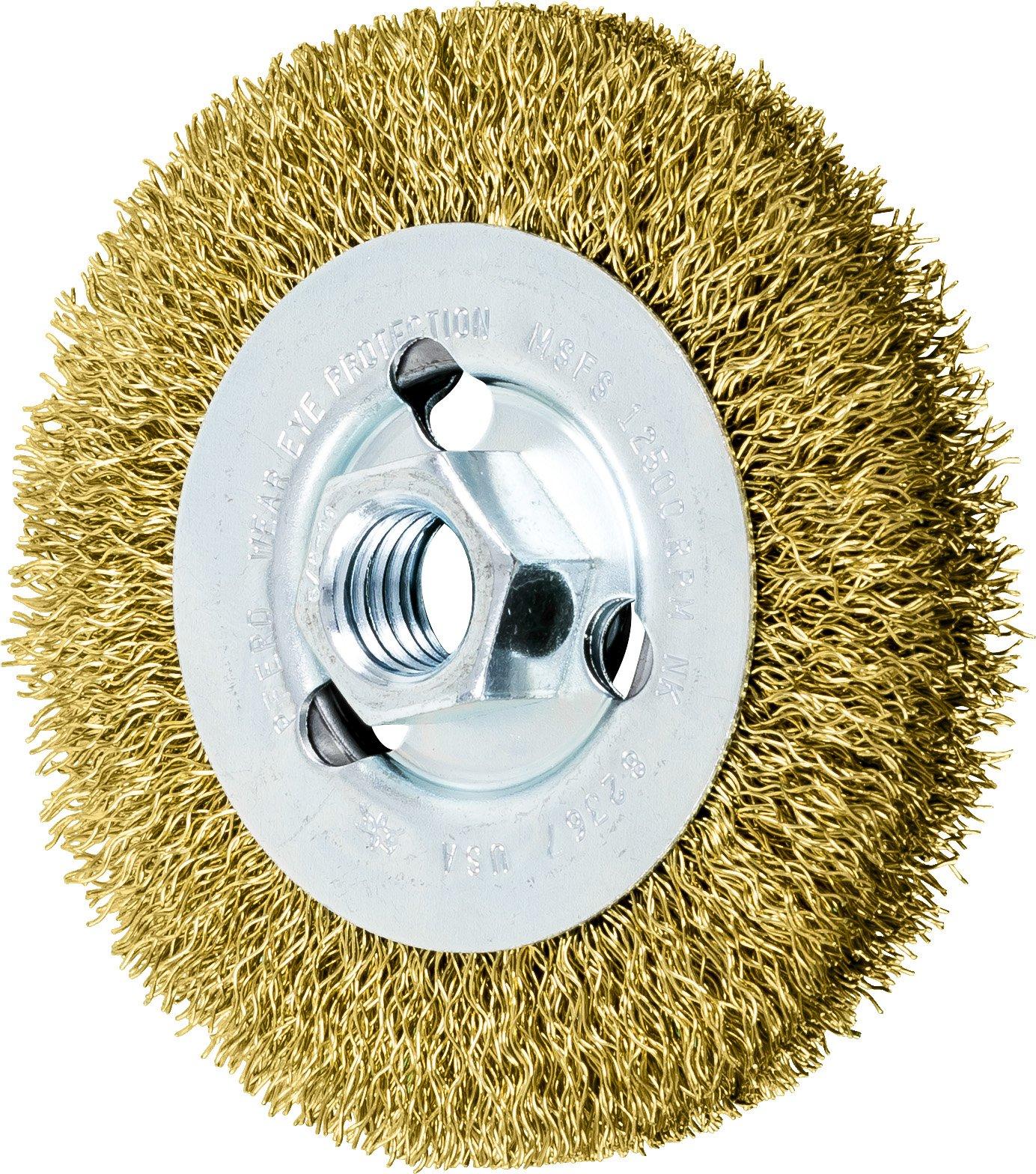 PFERD 82367 Crimped Wheel Brush, Brass Wire, 4'' Diameter, 5/8-11 Thread, 0.012 Wire Size, 11/16'' Trim Length, 1/2'' Face Width, 12500 RPM by Pferd