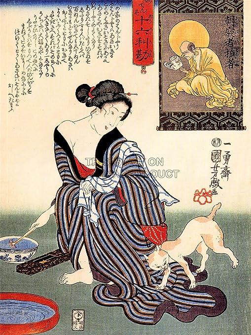 PAINTING PORTRAIT UTAGAWA KUNIYOSHI WOMAN GEISHA JAPAN CAT POSTER PRINT LV2813