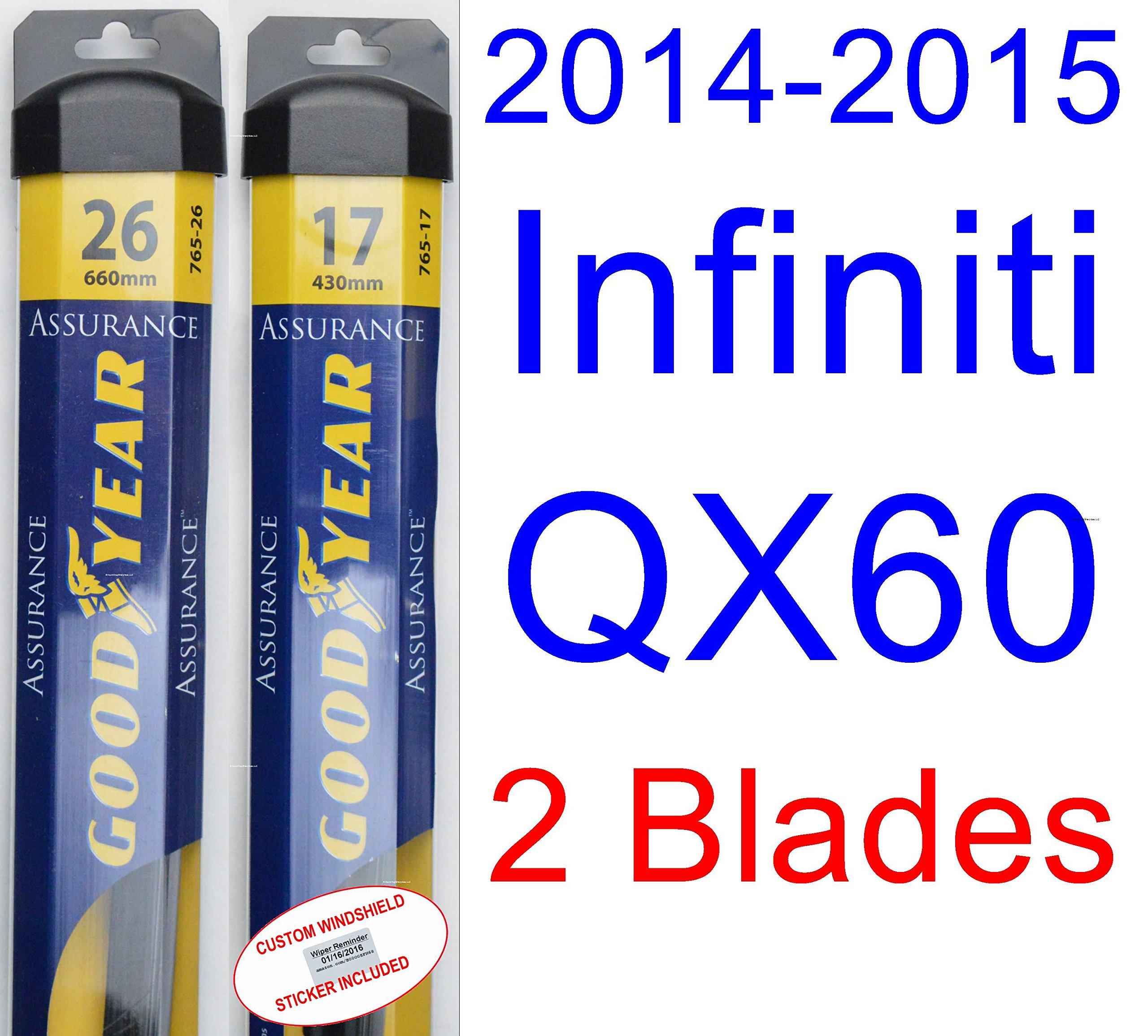 2014-2015 Infiniti QX60 Replacement Wiper Blade Set/Kit (Set of 2 Blades) (Goodyear Wiper Blades-Assurance) by Goodyear Wiper Blades
