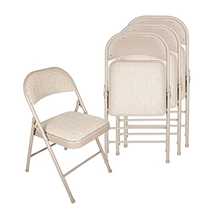 Genial Amazon.com: Deluxe Fabric Padded Folding Chair (Set Of 4)   Beige: Kitchen  U0026 Dining