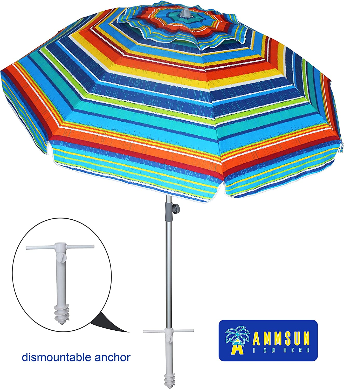 Amazon Com Ammsun 7ft Beach Umbrella With Sand Anchor Portable Outdoor Patio Sun Shelter Uv 50 Protection Tilt Aluminum Pole With Carry Bag For Beach Patio Garden Outdoor Multicolor Green