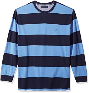 ee8d9da329 Amazon.com: Nautica Men's Big and Tall Long Sleeve Rugby Stripe Crewneck  Polo Shirt: Clothing