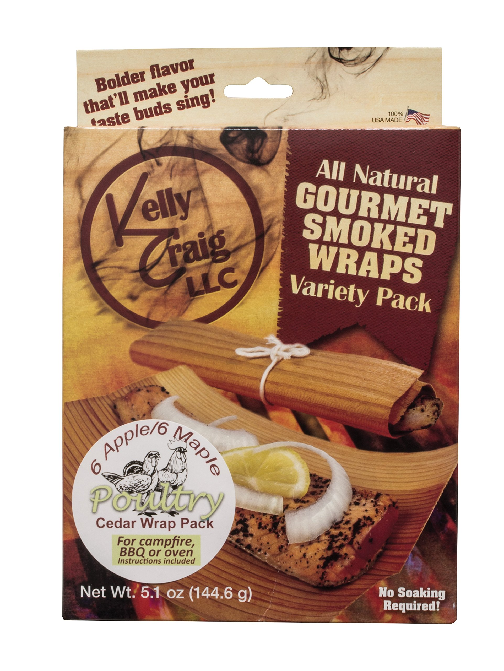 Kelly Craig 6811 Poultry Grill Wraps, Cedar, Natural Organic Replenishable Wood, Made in America, Set Includes 6 Apple / 6 Maple