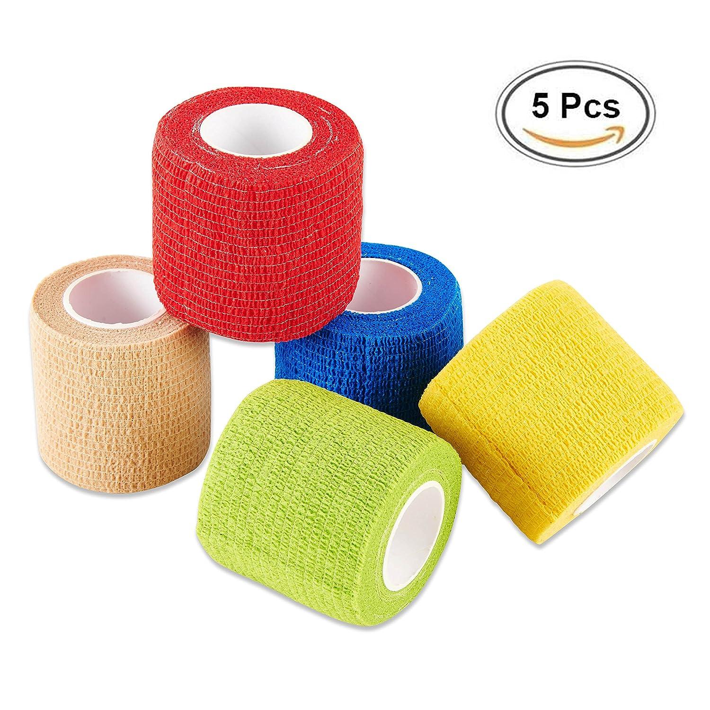 Selighting Bandage Cohésif Pansement Adhésif Rouleau Souple Bandage Non-tissé Cohésif Bande Athlétique pour Poignet et Cheville Doigt 5 rouleaux 4,5m (50mm x 4,5m)