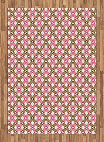 Amazon.com: Floral Area Rug by Lunarable, Pink and Brown Stripes ...