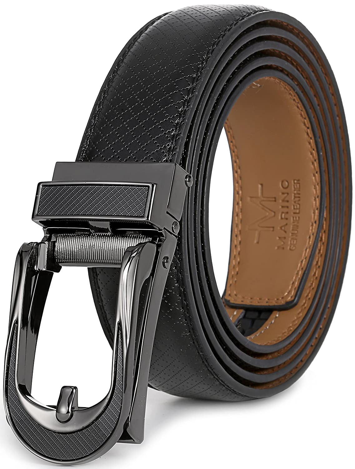 Marino Avenue Mens Genuine Leather Ratchet Dress Belt with Open Linxx Leather Buckle, Enclosed in an Elegant Gift Box Enclosed in an Elegant Gift Box - Black - Style 138 - Custom Up to 44 Waist OLB009-138-BKM