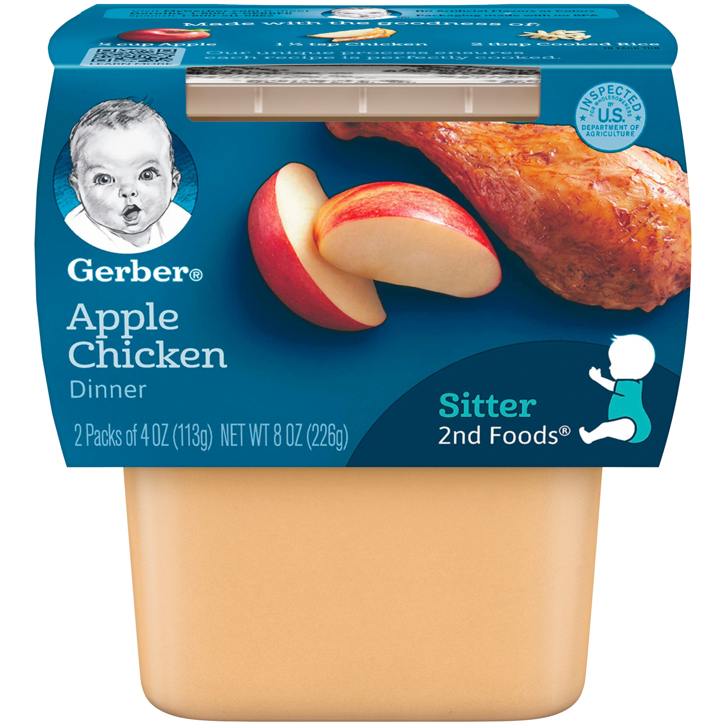 Gerber 2nd Foods Apples & Chicken, 4 oz Tubs, 2 Count (Pack of 8) by Gerber Purees
