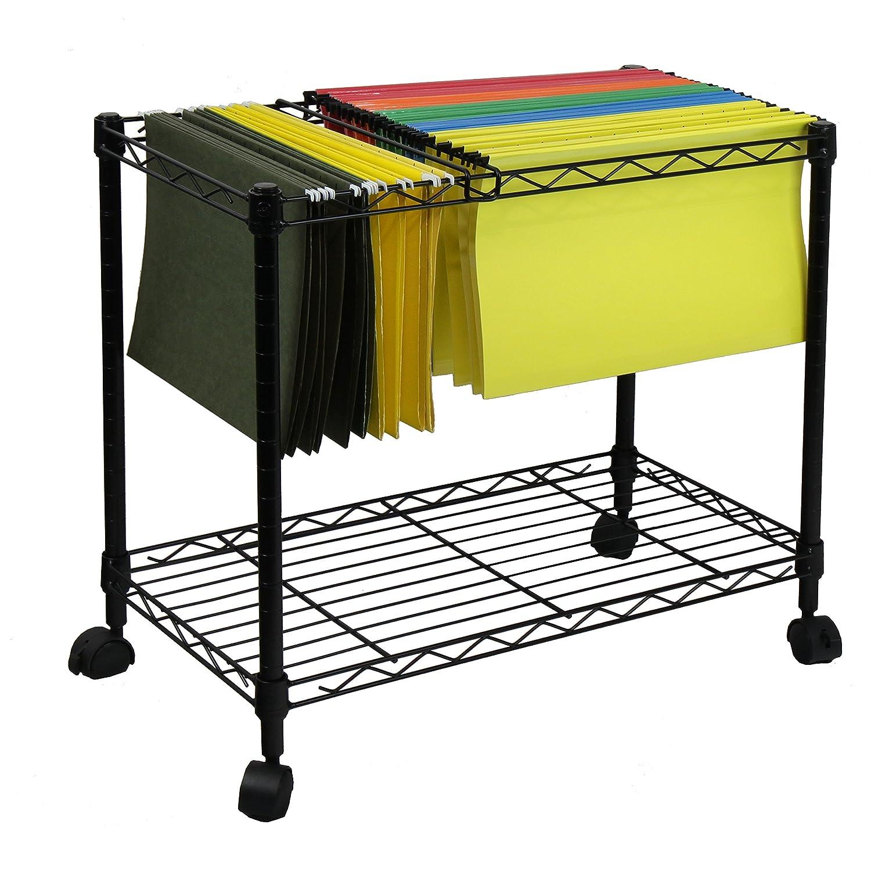 Oceanstar Portable 1-Tier Metal Rolling File Cart Black