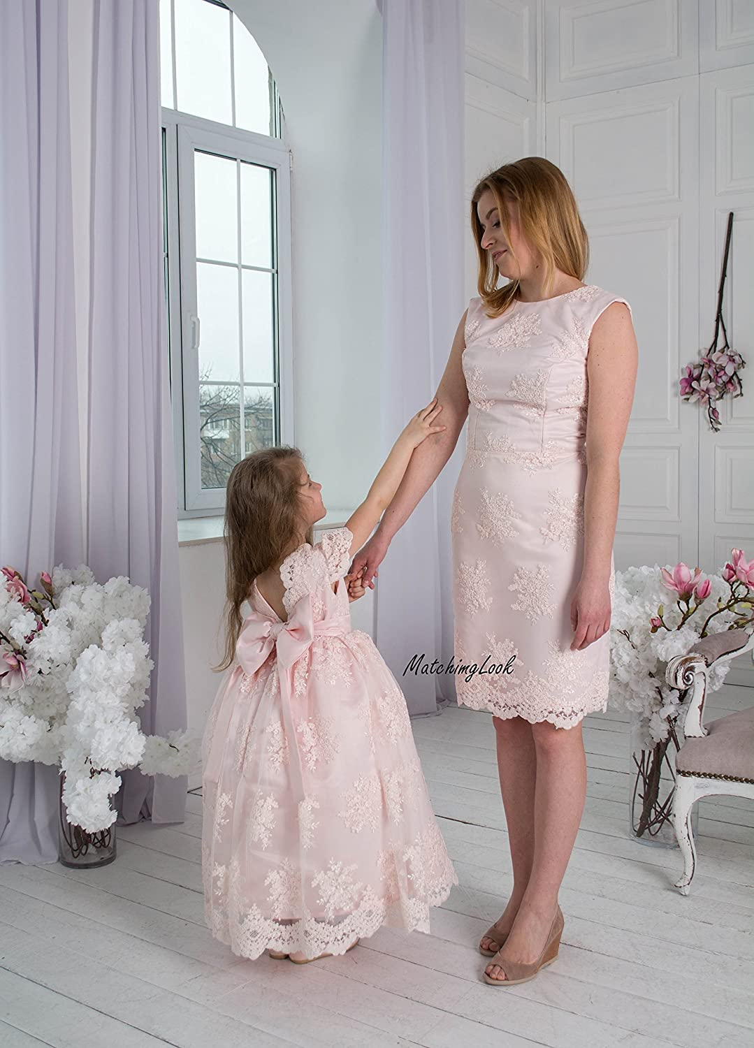 Amazon Com Pink Mommy And Me Outfits Mother Daughter Matching Dress Matching Mother Daughter Outfits Matching Mom And Baby Mother Daughter Gift Handmade,Boat Neck Satin Wedding Dress