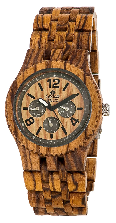Gespannter Adventure Vernon Triple Zifferblatt Multifunktions Holz Jumbo Zebrano Armbanduhr j5203z