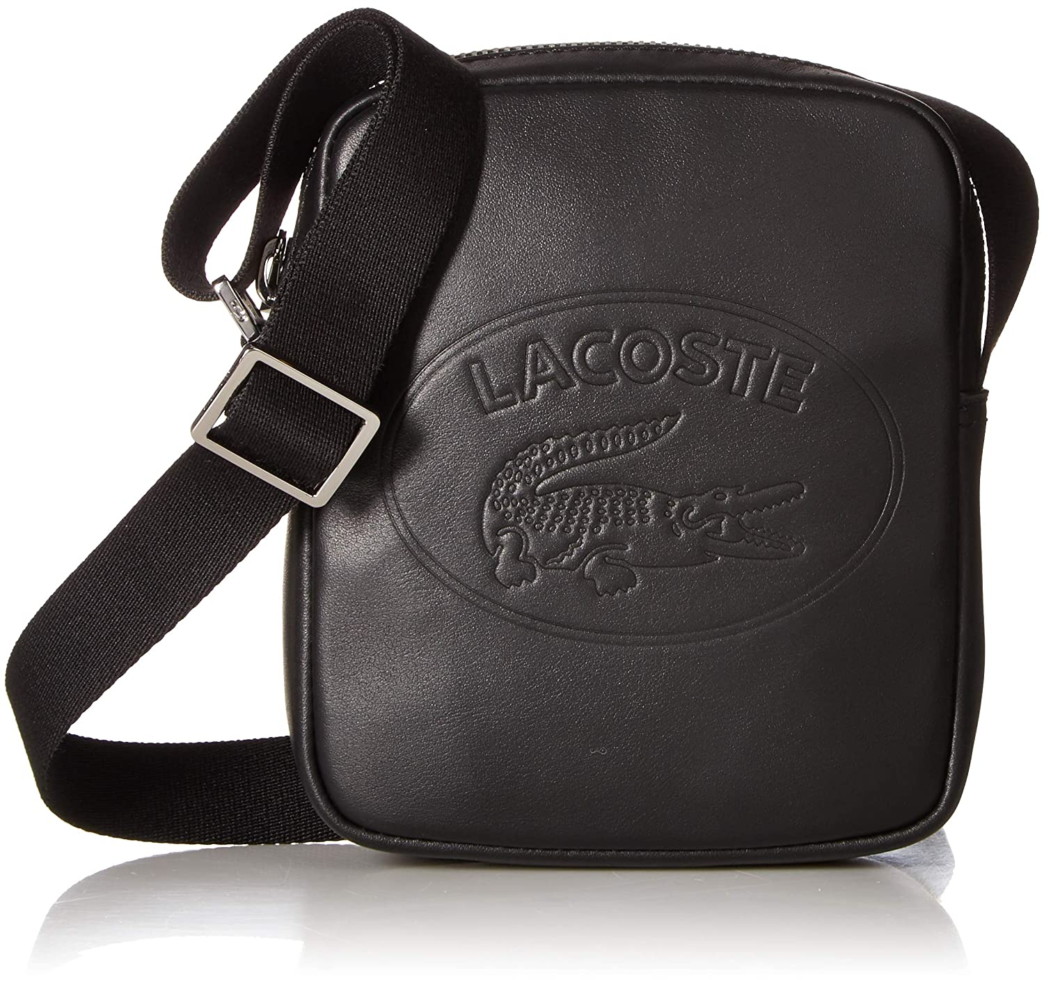 a06912bed Amazon.com  Lacoste Men s Leather Mini Vertical Camera Bag with Badge Logo