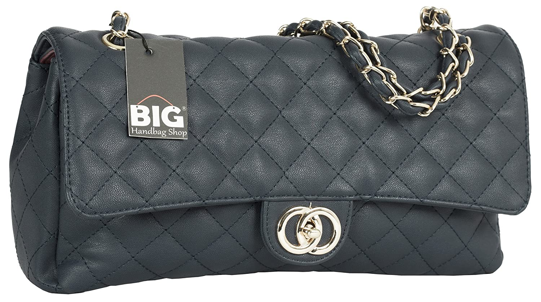 Big Handbag Shop レディース B075VWYYC7  Navy  Round Clasp (Design 2) L