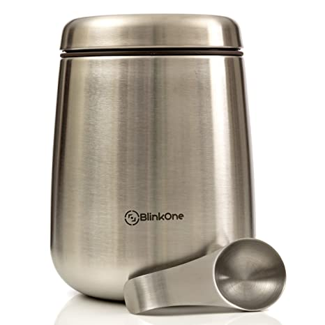 Bon BlinkOne Coffee Canister: Airtight Coffee Bean Container Storage With  Magnetic Scoop (18 Oz)
