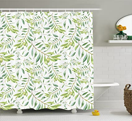 Ambesonne Green Leaf Shower Curtain Watercolor Style Olive Branch Mediterranean Tree Organic Fabric Bathroom