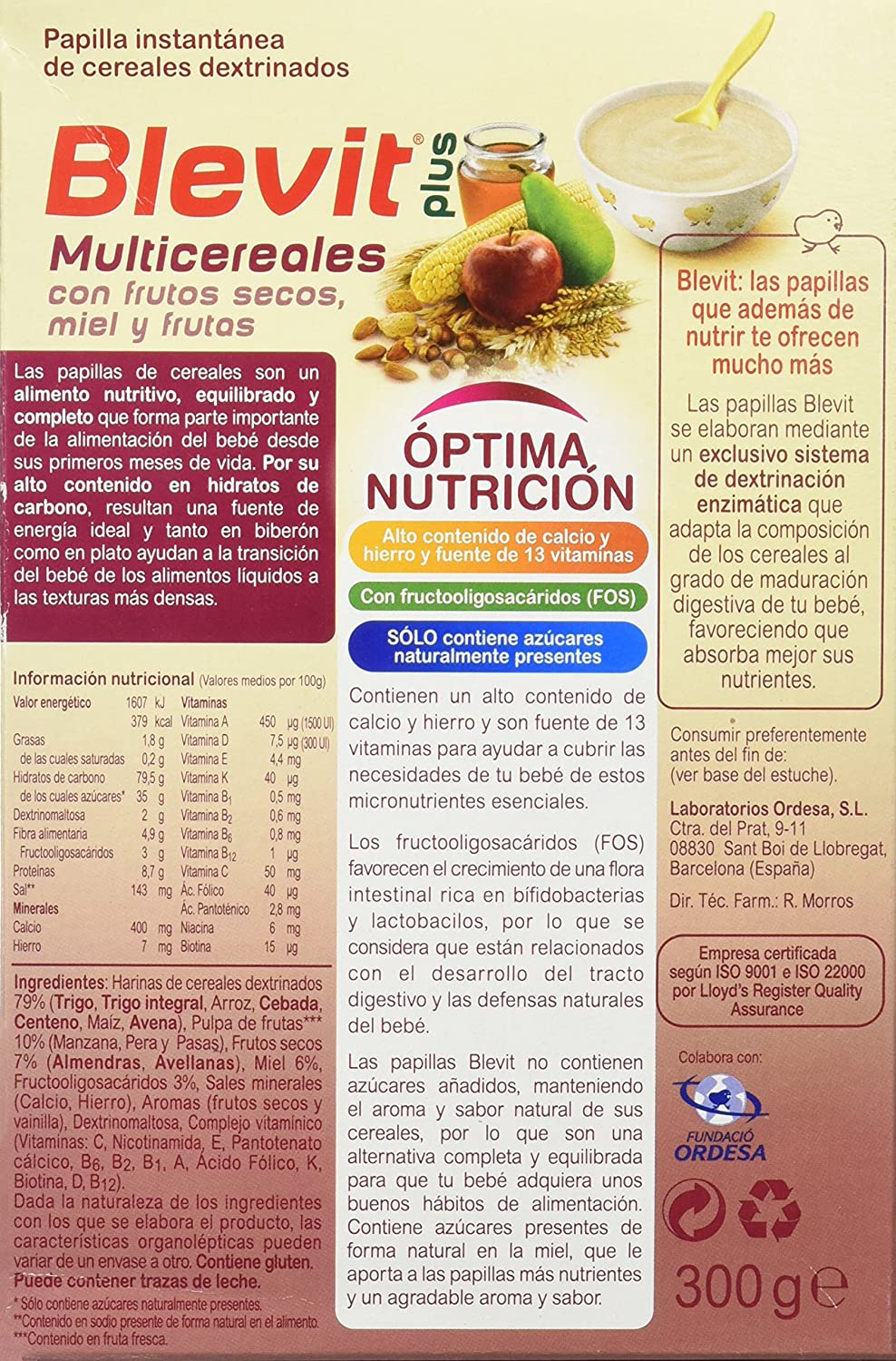 Blevit Plus Multicereales con Frutos Secos - 300 gr