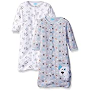 BON BEBE Boys' Paws Assorted 2 Pack Wearable Blanket, Puppy Dog Blues, 0-6 Months